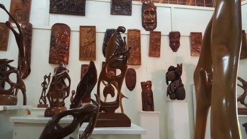 Abstract Wood Sculptors in the Art Studio.